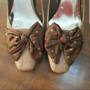 Etienne Aigner brown Reese heels with Bow Size 7